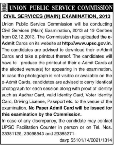 Civil Services Main Examination 2013 (Union Public Service Commission (UPSC))