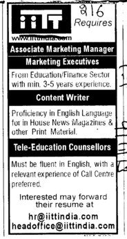 Content writer and Tele Education Counsellors (IITT Group)