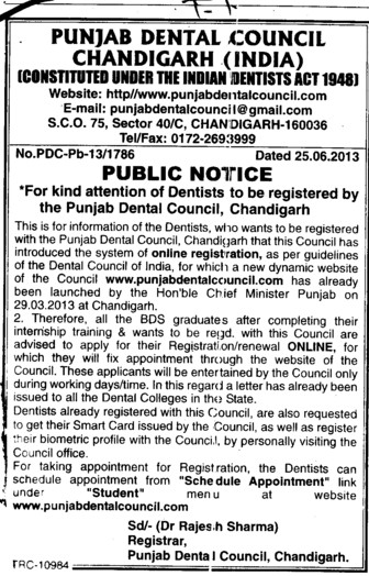 Registration of Dentisits (Punjab Dental Council)