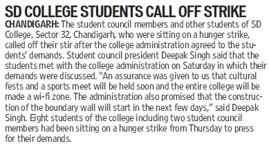 College students call off strike (GGDSD College)