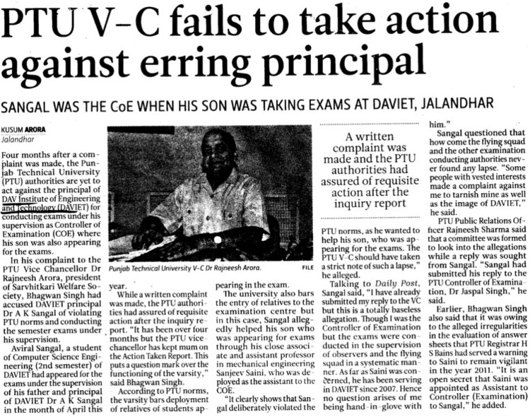 PTU VC fails to take action against erring principal (DAV Institute of Engineering and Technology DAVIET)