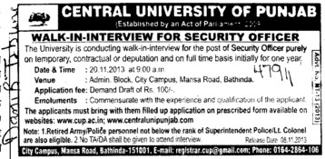 Security Officer (Central University of Punjab)