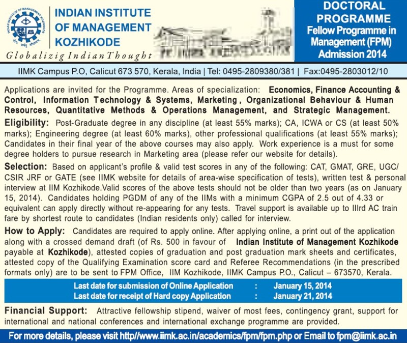 Fellow Programme in Management (Indian Institute of Management (IIM-Calicut))