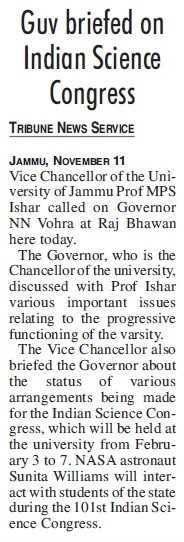 Guv briefed on Indian Science Congress (Jammu University)