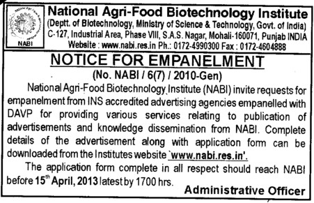 Notice for Empanelment (National Agri Food Bio Technology Institute (NABI))