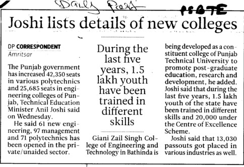 Joshi lists details of new colleges (Punjab State Board of Technical Education (PSBTE) and Industrial Training)