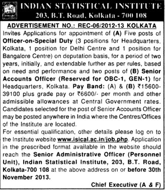 Officers on special duty (Indian Statistical Institute)