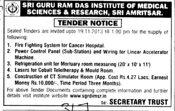 Fire Fighting system for cancer hospital (Sri Guru Ram Das Institute of Medical Sciences and Research)