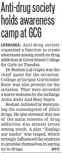 Anti drug society holds awareness camp (Government College for Women)