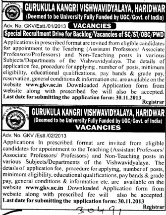 Asstt Professor for various departments (Gurukul Kangri Vishwavidyalaya)