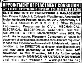 Placement consultant (Elitte Institute of Engineering and Management)