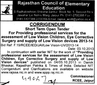 Supply of low vision devices (Rajasthan Council of Elementary Education)