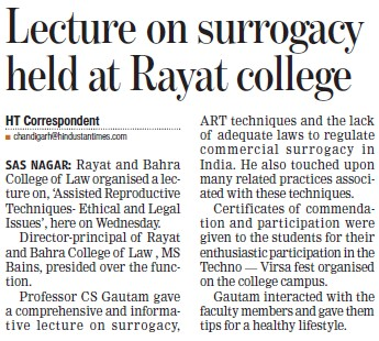 Lecture on surrogacy held (Rayat and Bahra College of Law)