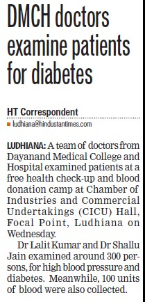 Doctors examine patients for diabetes (Dayanand Medical College and Hospital DMC)