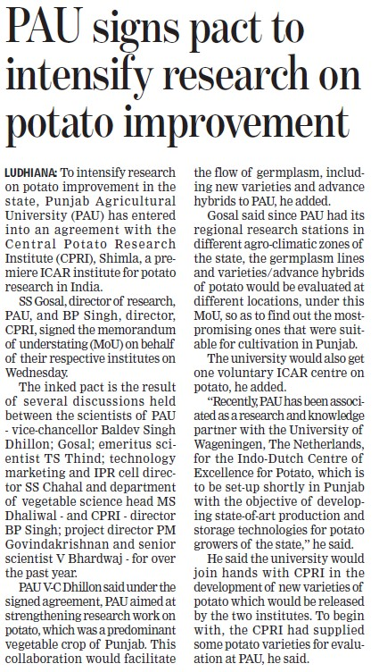 PAU signs pact to intensify research on potato improvement (Punjab Agricultural University PAU)