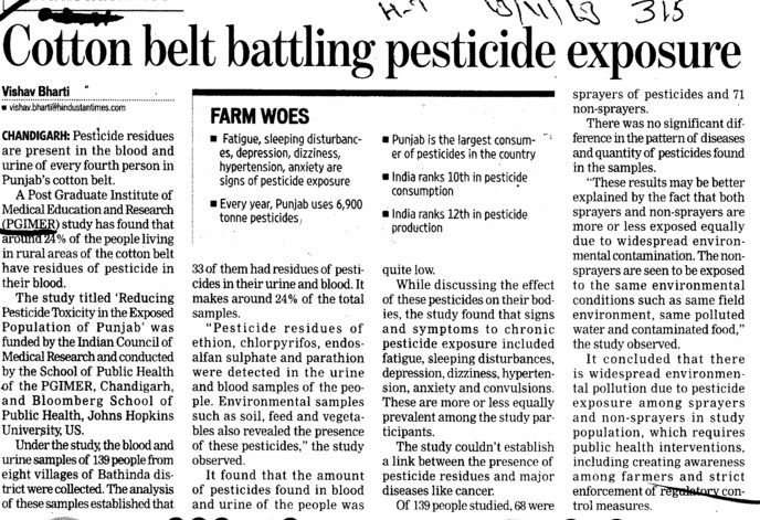 Cotton belt battling pesticide exposure (Post-Graduate Institute of Medical Education and Research (PGIMER))