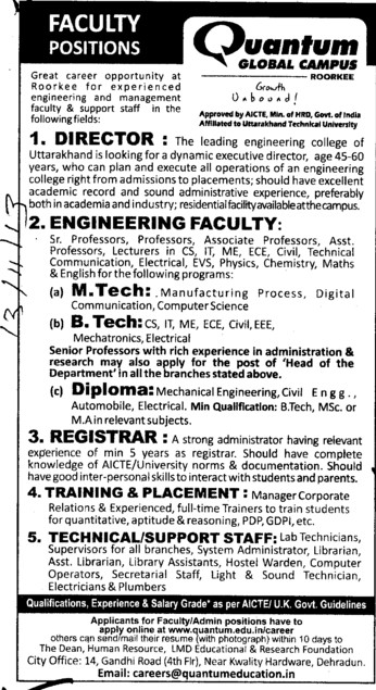 Director and Registrar (Quantum School of Technology (QST))