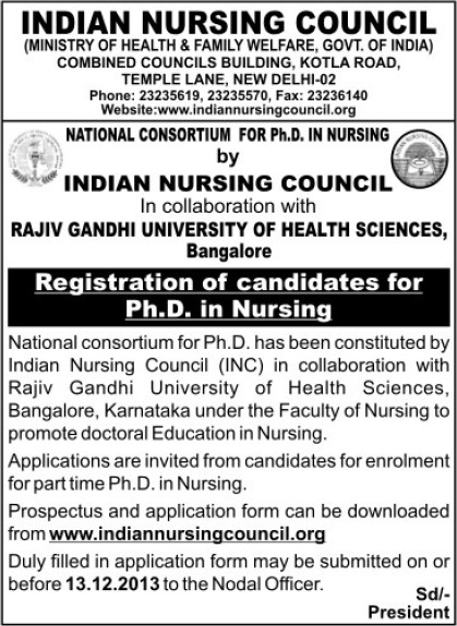 Registration of candidates of PhD in Nursing (Indian Nursing Council (INC))