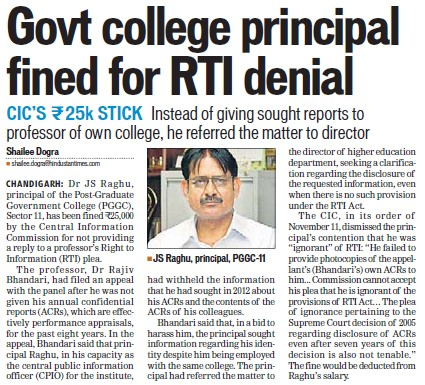 Govt College Principal fined for RTI denial (Post Graduate Government College (Sector 11))