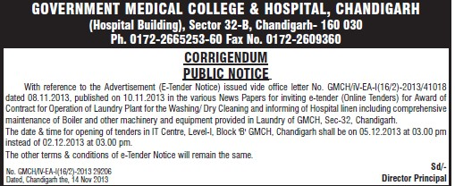 Maintenance of Loundry Plant (Government Medical College and Hospital (Sector 32))
