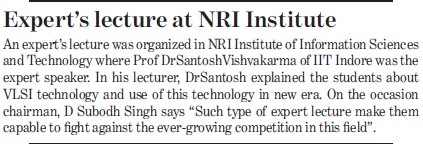 Experts lecture at NRI Institute (NRI Institute of Information Science and Technology (NIIST))