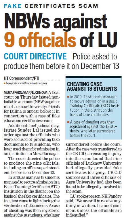 NBWs against 9 officials of LU (Lucknow University)
