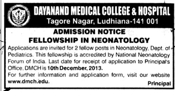 Fellowship in Neonatology (Dayanand Medical College and Hospital DMC)