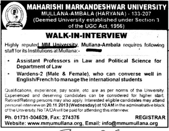 Asstt Professor and Warden (Maharishi Markandeshwar University)