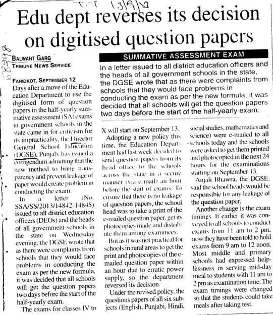 Edu Dept reverses its decision on digitised question papers (Director General School Education DGSE Punjab)