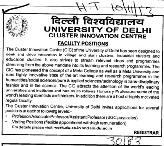 Asstt Professor and Visiting position (Delhi University)