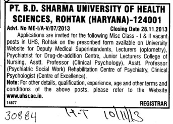 Deputy Medical Superintendent (Pt BD Sharma University of Health Sciences (BDSUHS))