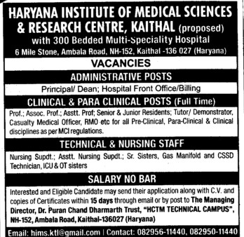 Technical and Nursing staff (RK Bansal Medical College and Hospital)