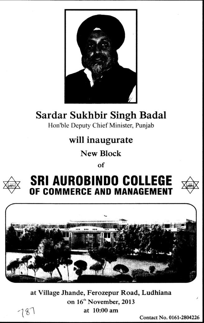 Sukhbir Badal will inaugurate new block (Sri Aurobindo College of Commerce and Management)