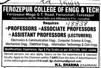 Asstt Professor and Lecturer (Ferozepur College of Engineering and Technology)