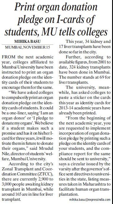 Print organ donation pledge on I cards of students (University of Mumbai)