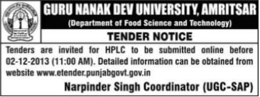 Online submission of HPLC tender (Guru Nanak Dev University (GNDU))