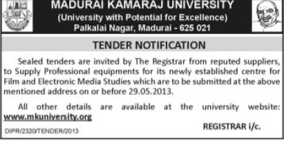 Supply of equipments (Madurai Kamaraj University)