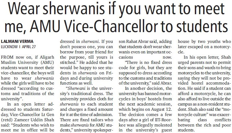 Wear Sherwanis for meet to VC (Aligarh Muslim University (AMU))