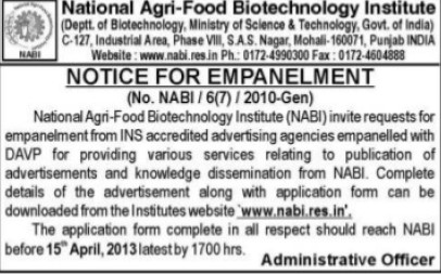 Notice for submission of Empanelment (National Agri Food Bio Technology Institute (NABI))