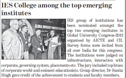 IES College among top emerging institutes (IES Group of Institutions)
