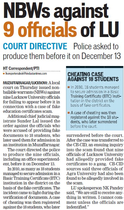 Non bailable warrants against 9 officials of LU (Lucknow University)