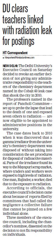 DU clears teacher linked with radiation leak for posting (Delhi University)