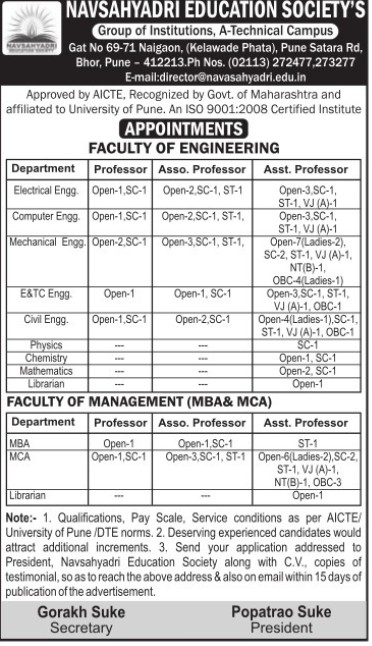 Asso Professor for Electrical Engg (Navsahyadri Education Societys Group of Institutions Faculty of Engineering)