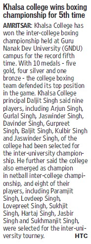 College wins boxing championship for 5th time (Khalsa College)