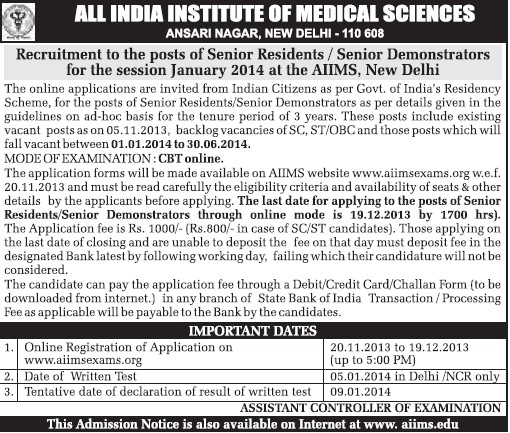 Senior Demonstartors (All India Institute of Medical Sciences (AIIMS))
