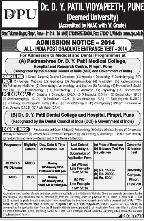 All India Post Graduate Entrance Test 2014 (Dr DY Patil University)