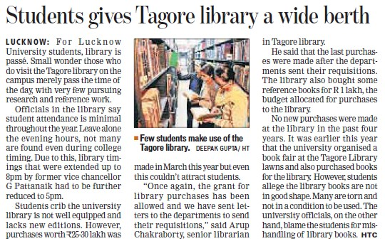 Students gives Tagore library a wide berth (Lucknow University)