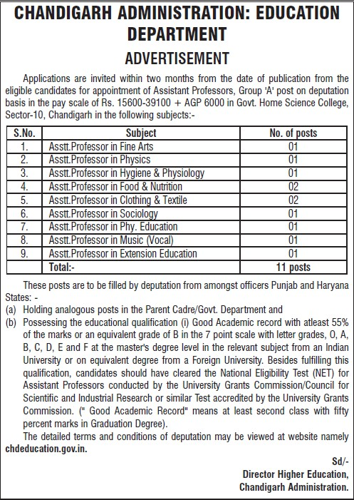 Asstt Professor in Sociology (Education Department Chandigarh Administration)