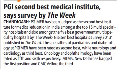 PGI get 2nd best medical institute, says survey by the week (Post-Graduate Institute of Medical Education and Research (PGIMER))