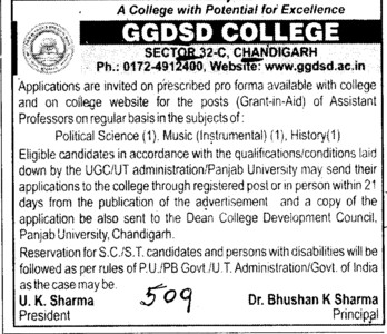 Asstt Professor for Political Sciences and History (GGDSD College)